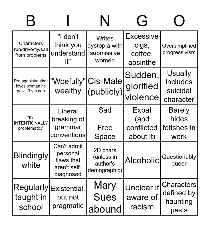 Are you an overrated 20th ct. author? Bingo Card