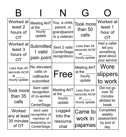 ARC BINGO! Bingo Card