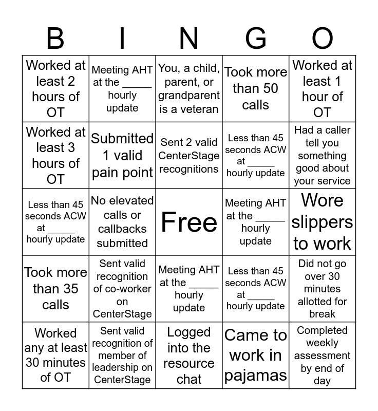 ARC BINGO! Bingo Card