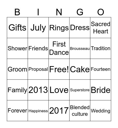 RASHA'S BRIDAL SHOWER Bingo Card
