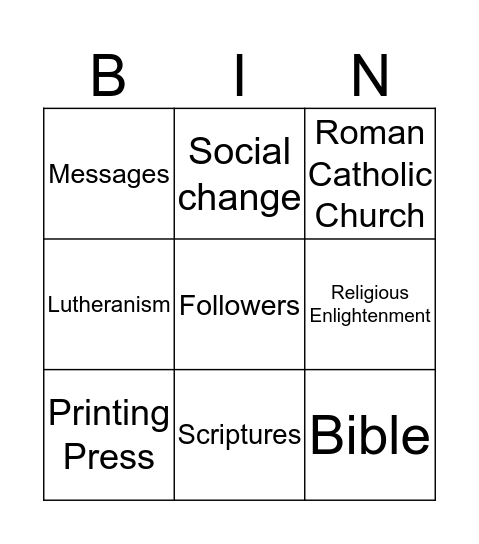 Martin Luther Bingo Card
