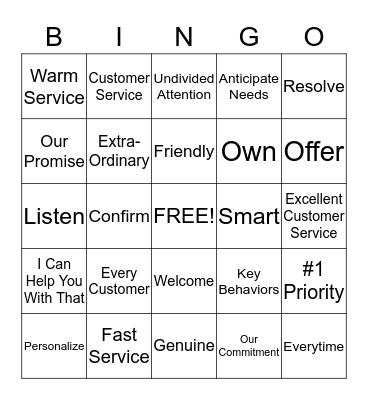 Our Promise Bingo Card
