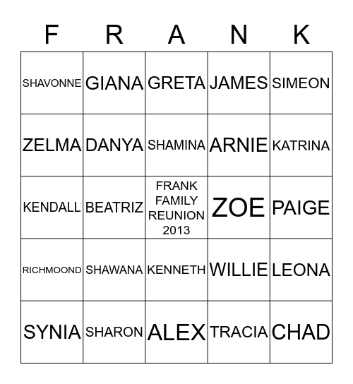 FRANK FAMILY REUNION 2013 DEEP CREEK MARYLAND Bingo Card