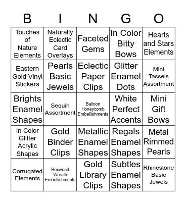 Accessories Bingo Card