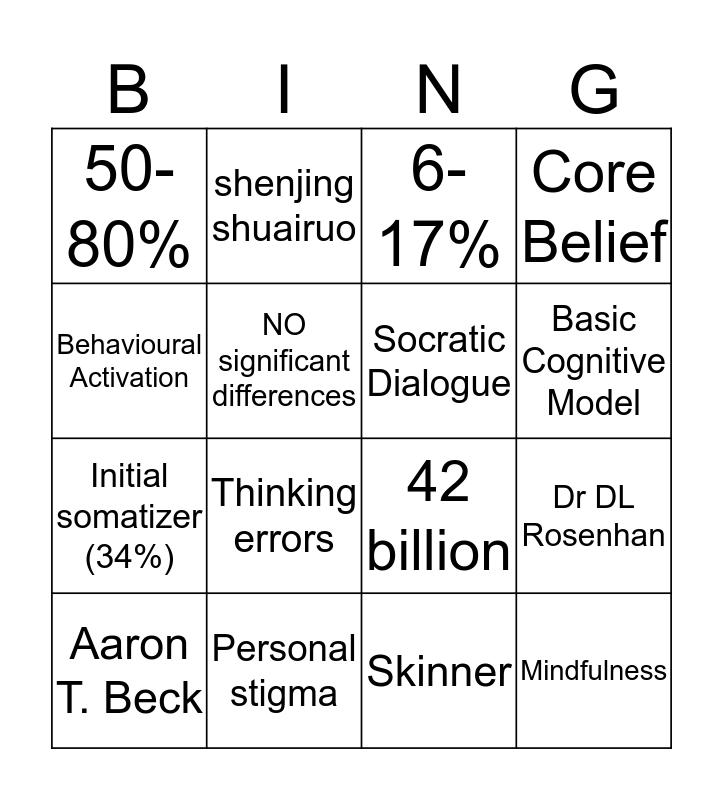 Depression BINGO 1 Bingo Card