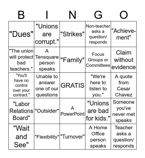 Captive Meeting Bingo Card
