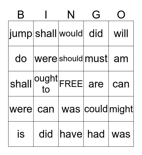 Verb Bingo Card