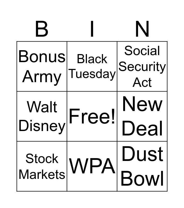 Unit 13 Bingo Card