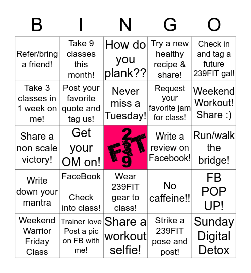 239FIT FITNESS BINGO Card