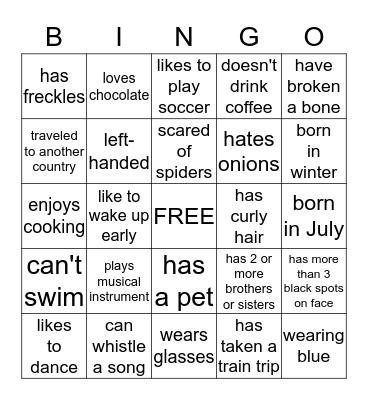Get to Know Bingo Card