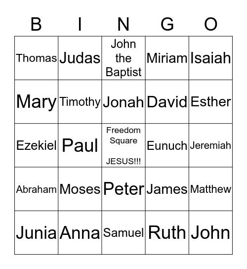 Bible Calling Bingo Card