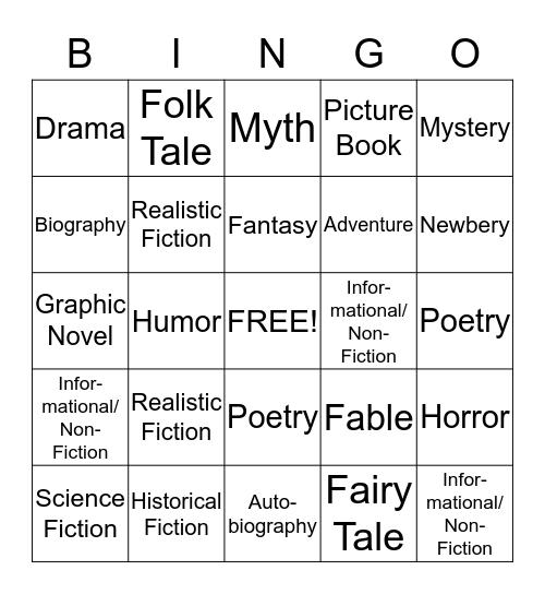 Miss Rosier's Genre Bingo Card