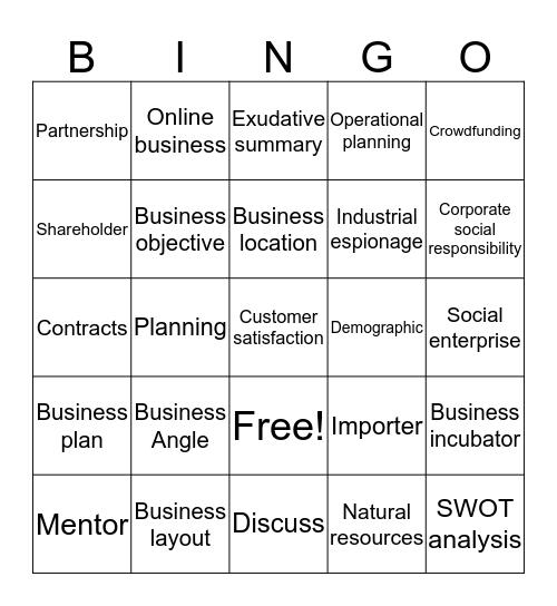 Unit 1 AOS3 Bingo Card