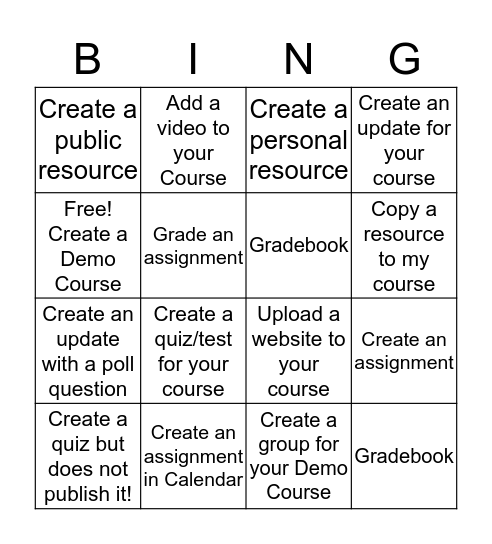 Schoology Bingo Card