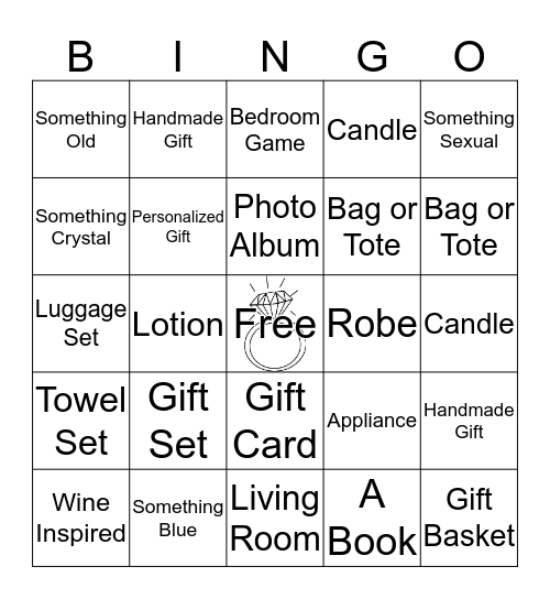 Quiana's Bridal Shower Bingo Card