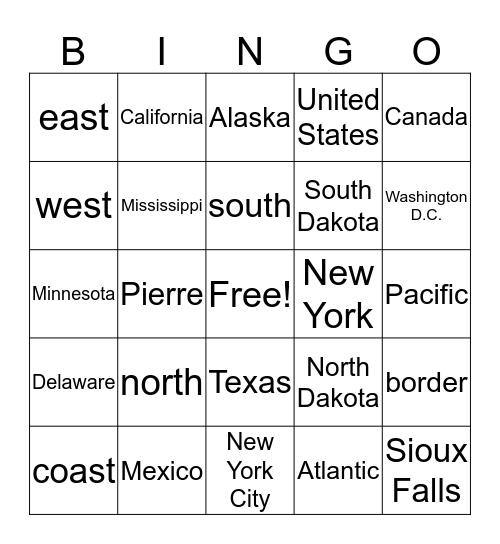 Map words Bingo Card