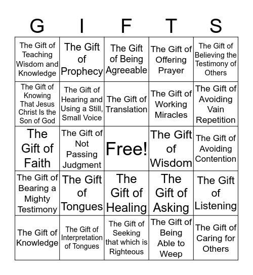 SPIRITUAL GIFTS BINGO Card