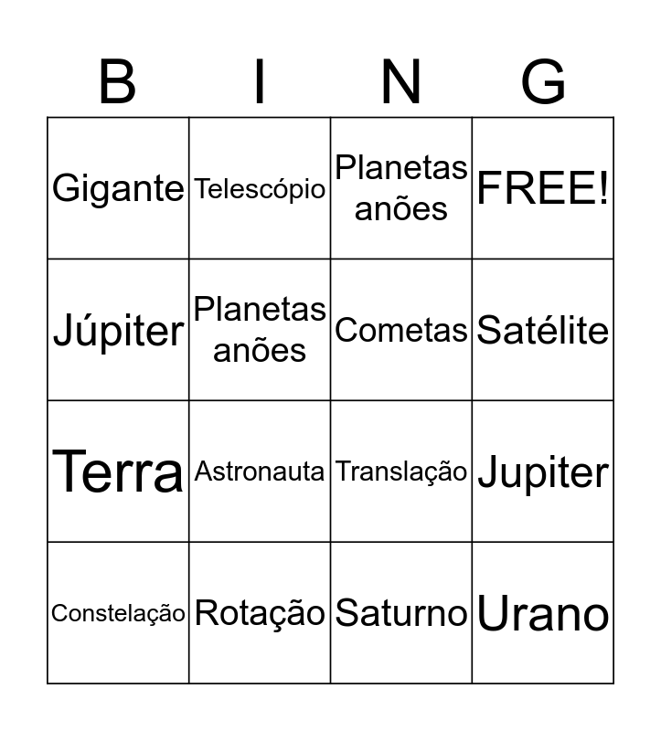 Sistema Solar Bingo Card