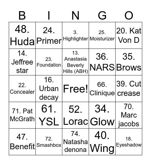 Simone Card Bingo Card