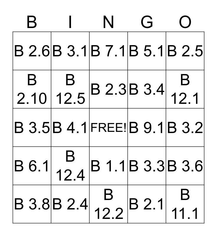 RM WASH Bingo Card