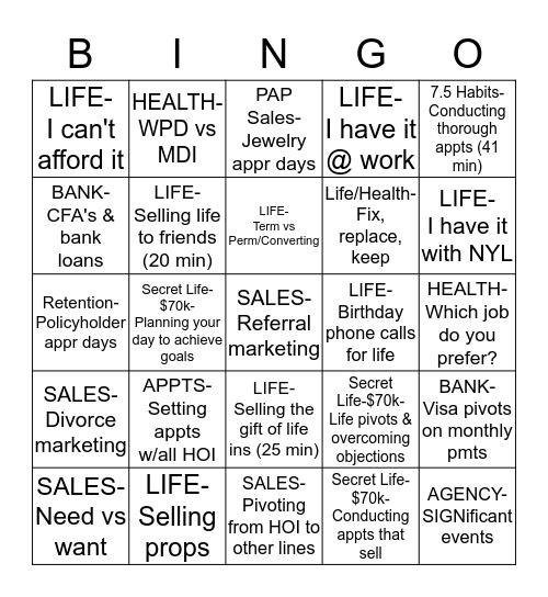 Insurance Bingo- L & D  Bingo Card