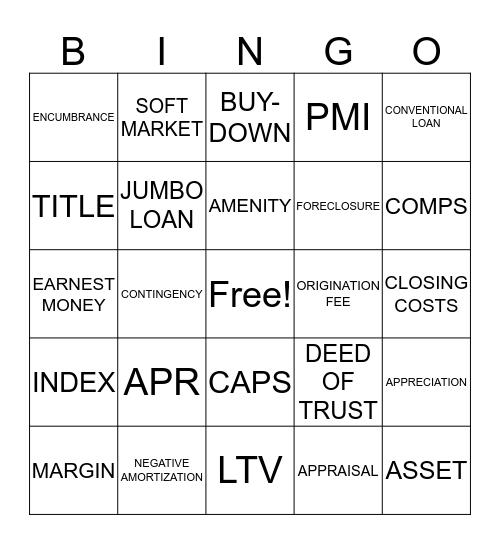 HOME LOANS Bingo Card