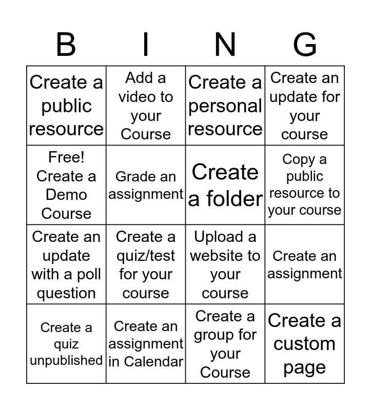 "Basic Schoology ""Bing"" #15 Bingo Card"