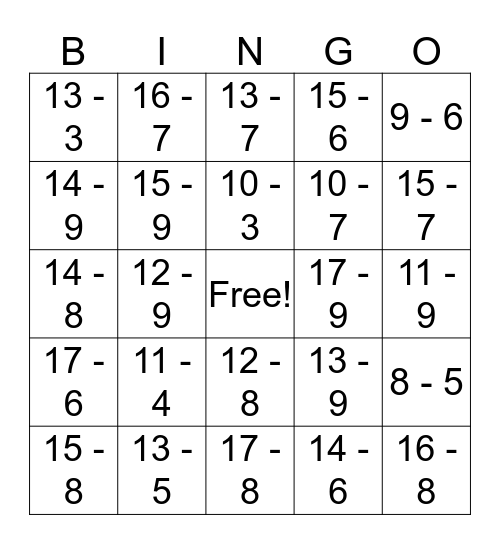 Subtraction Facts to 20 Bingo Card