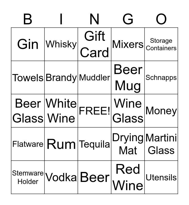 Jason & Jen Stock the Bar BINGO! Bingo Card