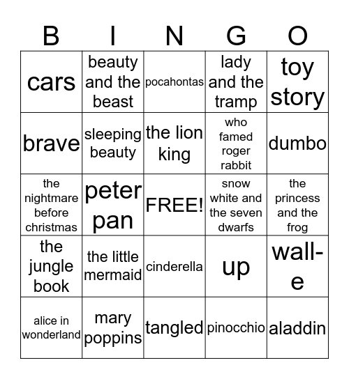 Disney Movie Bingo Card