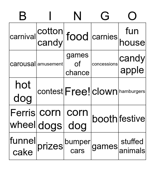 Carnival Fun Bingo Card