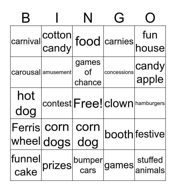 Carnival Fun Bingo Card