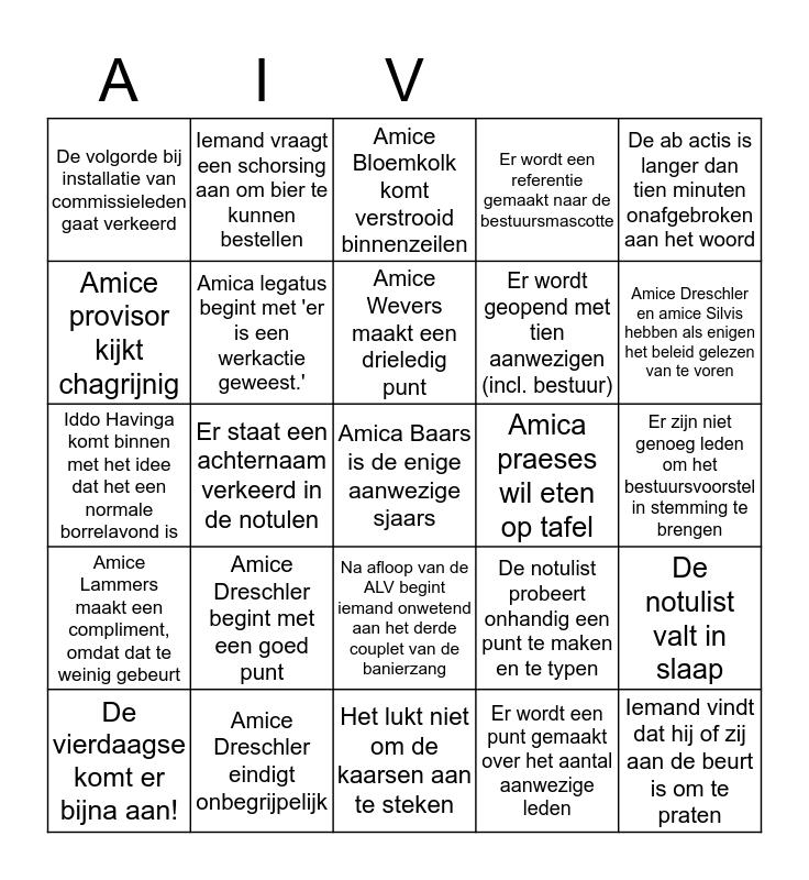 ALV-Bingokaart Bingo Card