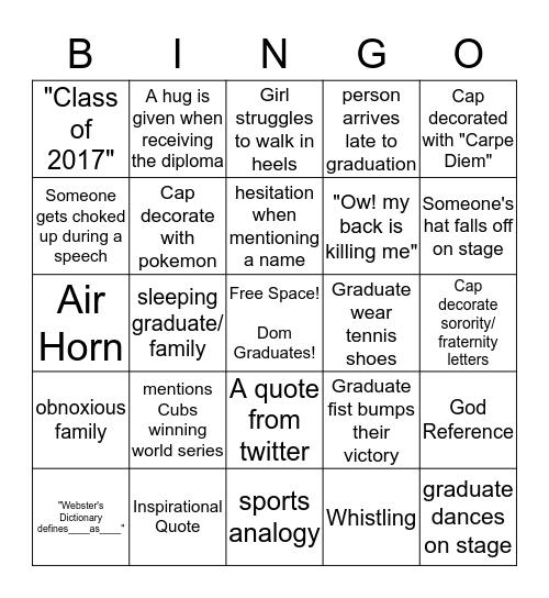 Congrats Dom!  Bingo Card