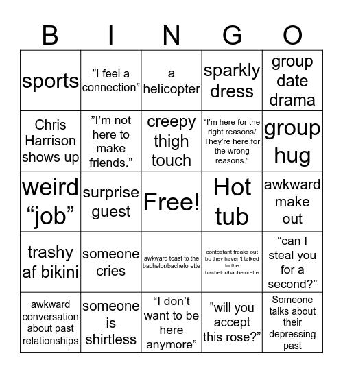 Bachelor Bingo  Bingo Card