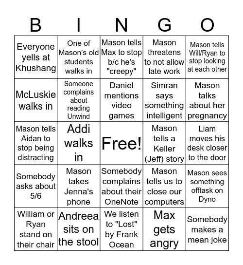 Mason 3/4 Bingo! Bingo Card