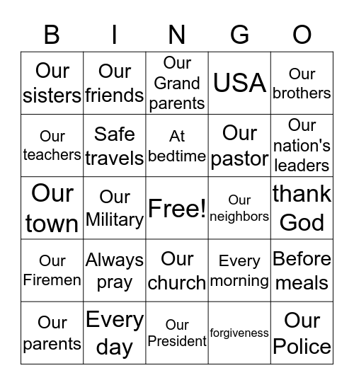 PRAYER Bingo Card