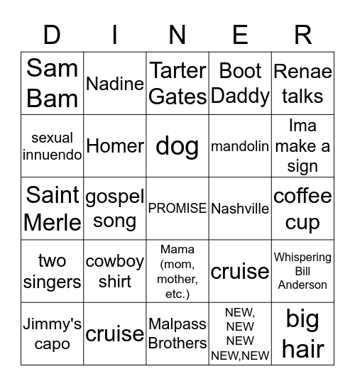 Larry's Country Bingo Card