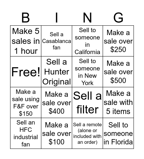 Direct Sales Bingo Card