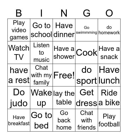 Routines Bingo Card