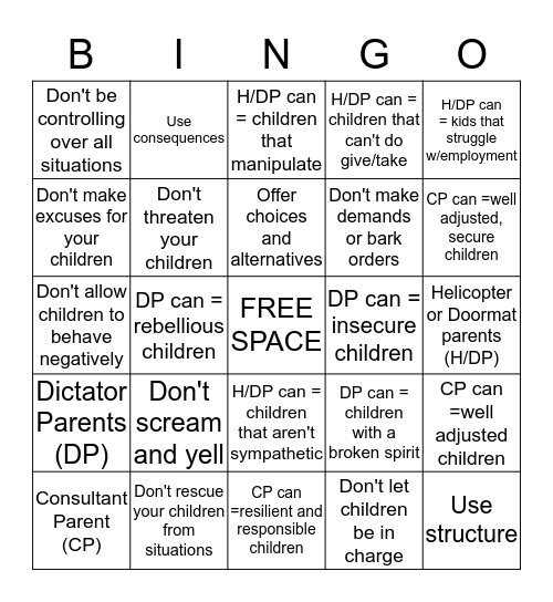 Parenting Style Bingo Card