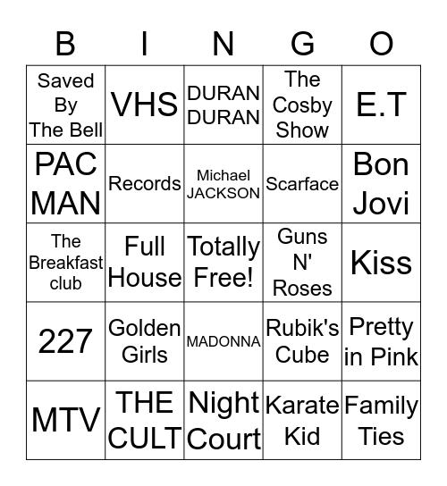 80's Times Bingo Card