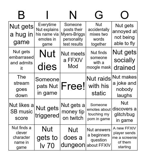 Introvert Ant FFXIV Bingo Card