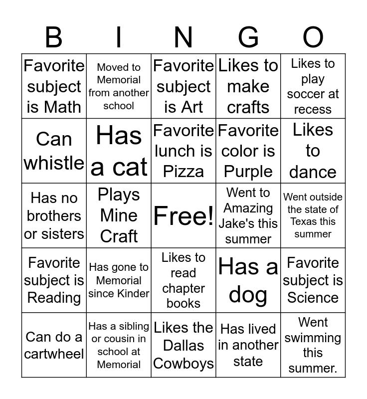 Find Someone Who / Whose Bingo Card