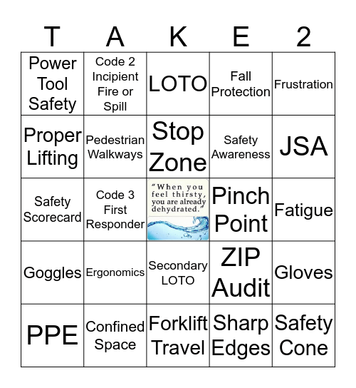 Period 8 - 10 Safety Bingo  Bingo Card