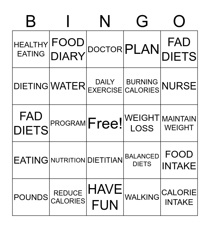NUTRITION AND DIETING Bingo Card