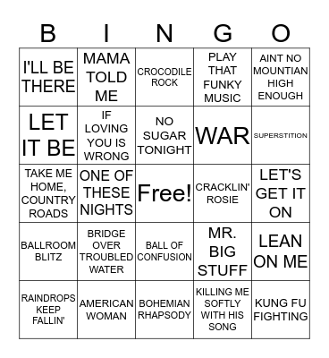1970s HITS Bingo Card