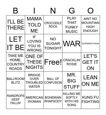 1970s HITS Bingo Card