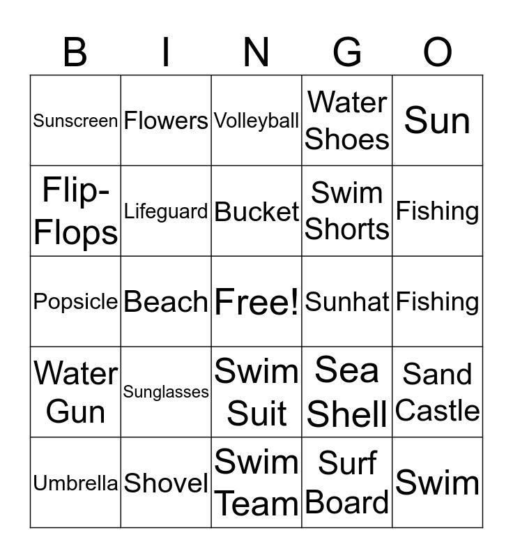 Summer Theme Bingo Card