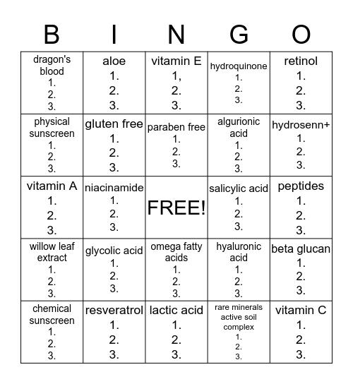 skincare ingredients Bingo Card